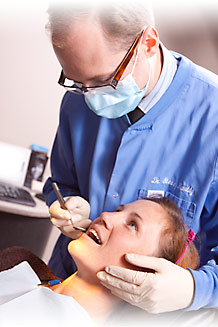 Dr. Stephen Hambly, dentist with dental patient, Hamilton Dentist, Westdale Dental Care, Ancaster, Dundas