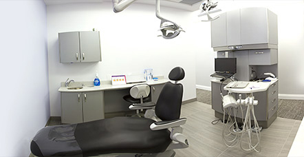 Dental chair and office interior of Hamilton Dentist, Westdale Dental Care, Ancaster, Dundas